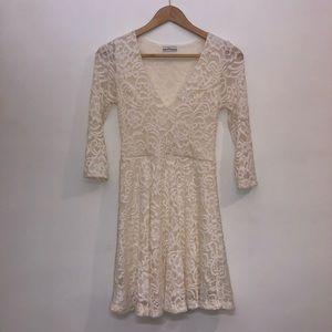 NWOT Dainty Hooligan 3/4 Sleeve Ivory Lace Dress